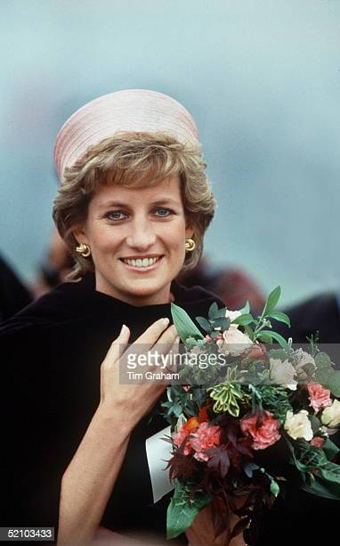 Princess Diana Wearing A Black Shawl Wrap During A Visit To Her Regiment In Kent