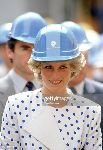 Princess Diana Wearing A Builder's Hard Hat Helmet With Her Name On It With A Suit Designed By Fashion Designer Jan Van Velden For A Visit To A...