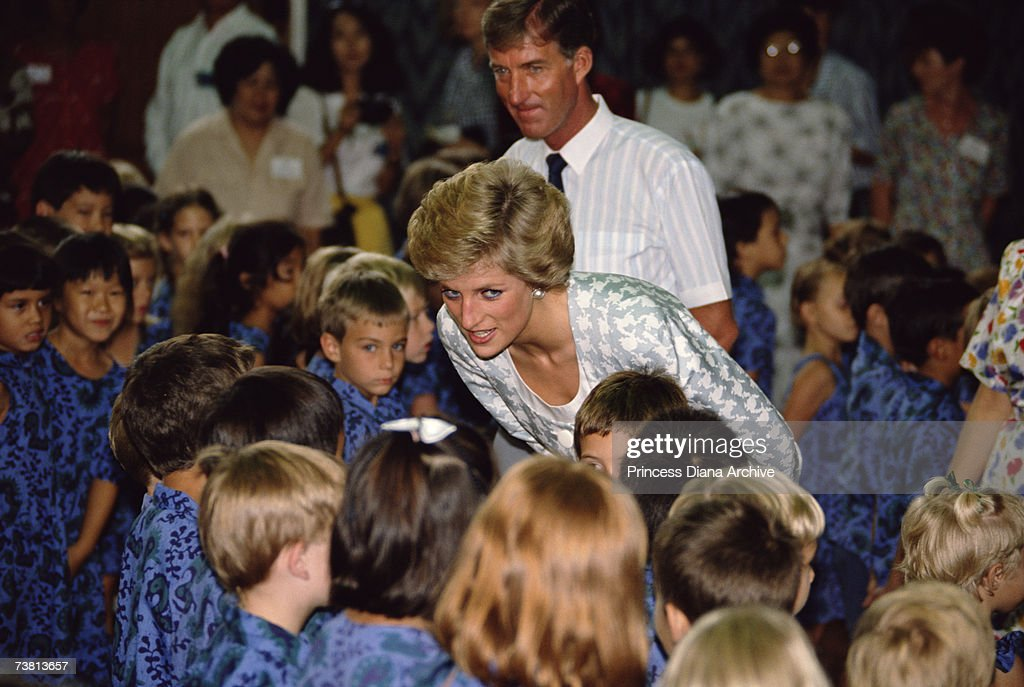 Princess Diana (1961 - 1997) wearing a dress by Catherine Walker on a visit to the British School in Jakarta, November 1989.