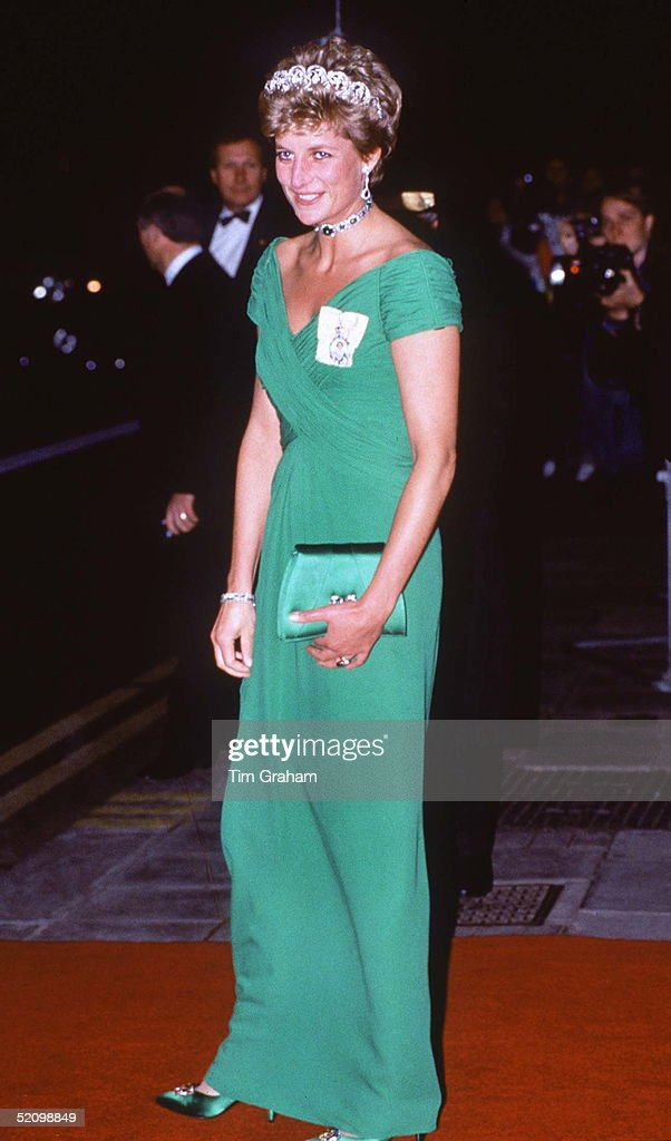 Princess Diana Wearing A Dress Designed By Fashion Designer Catherine Walker To A Banquet At The Dorchester Hotel For The Yang Di-pertuan Agong Of Malaysia.