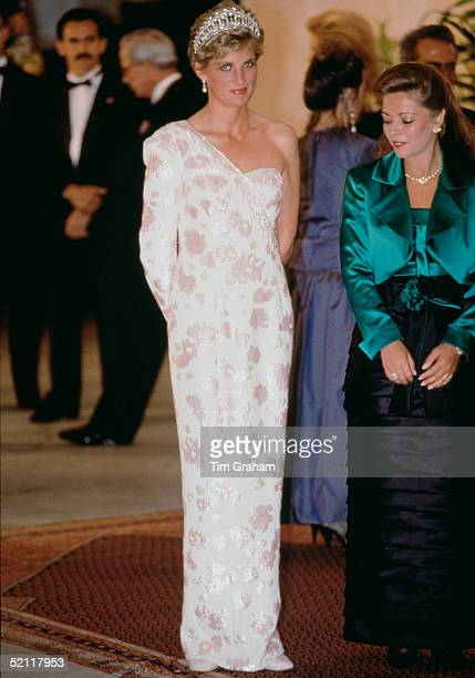 Princess Diana Wearing A Dress Designed By Fashion Designer Catherine Walker During An Official Visit To Brazil