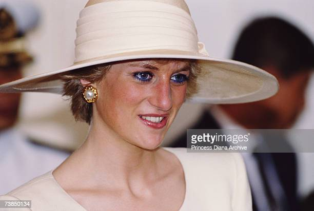Princess Diana wearing a hat by Philip Somerville at the Presidential Palace in Jakarta November 1989