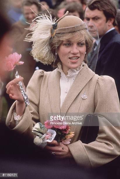 Princess Diana wearing a John Boyd hat and a tweed coat by Caroline Charles during a visit to St Davids Pembrokeshire November 1981