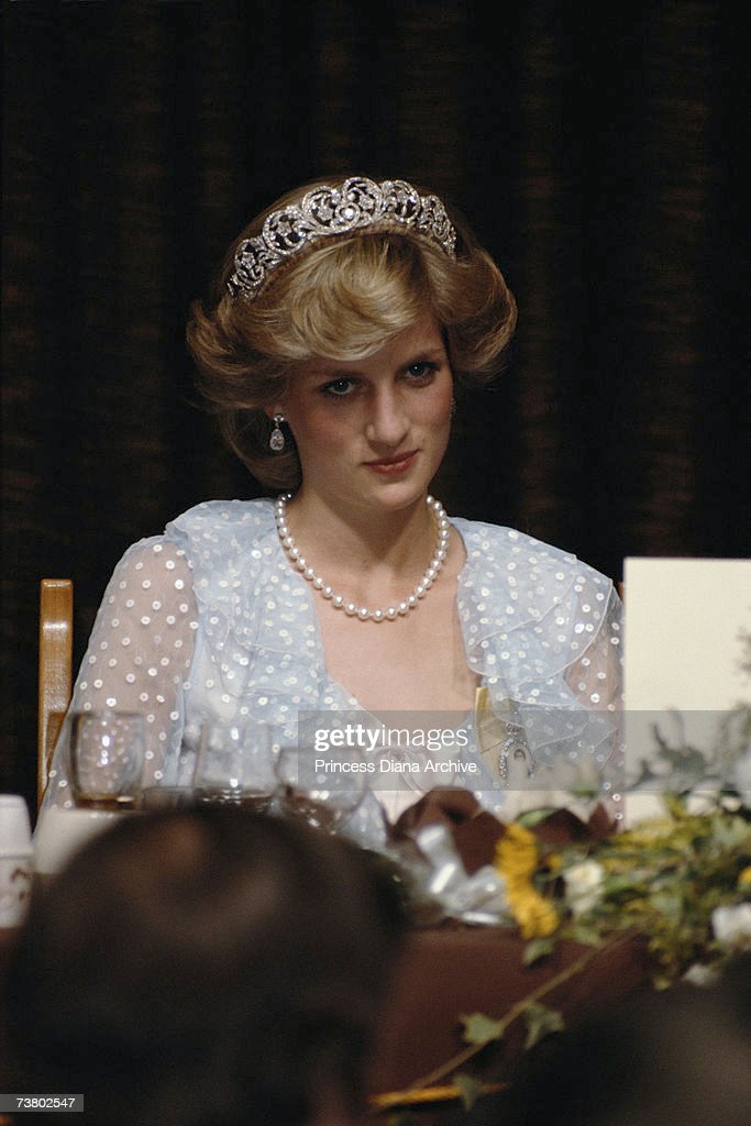 Princess Diana, wearing a polka dot Catherine Walker gown and the Spencer family tiara, attending a state banquet in Auckland, April 1983.