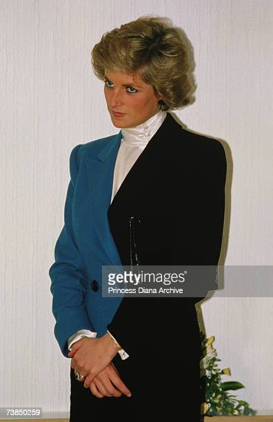 Princess Diana wearing a suit by catherine Walker on a visit to a hospital in Wolverhampton December 1988