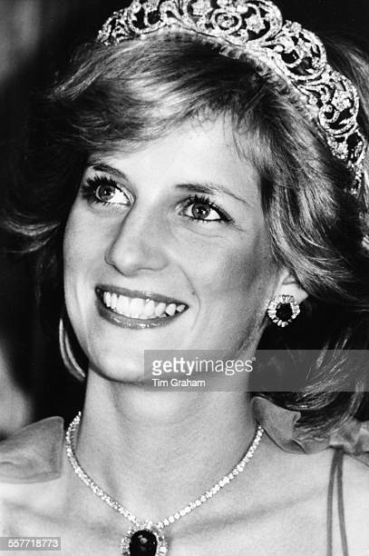 Princess Diana wearing a tiara and diamond necklace on an official visit to Australia April 12th 1983