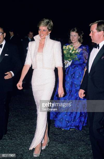 Princess Diana Wearing A White Catherine Walker Gown With Matching Bolero Jacket To The British Fashion Awards At The Royal Albert Hall The Princess...