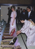 Princess Diana wearing a Zandra Rhodes dress to a dinner in Kyoto Japan 9th May 1986