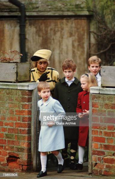 Princess Diana wearing an Escada coat with a hat by Philip Somerville before a Christmas Day church service at Windsor 25th December 1987 With her...