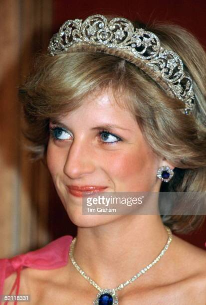 Princess Diana Wearing The Spencer Family Tiara With A Suite Of Sapphire And Diamond Jewels Which Had Been A Gift From The Crown Prince Of Saudi...