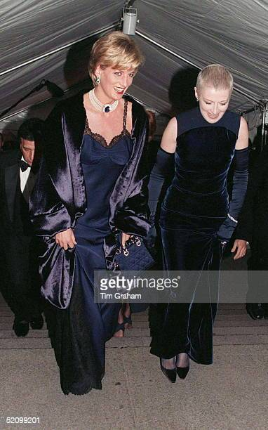 Princess Diana With Her Friend Liz Tilberis Arriving At The Metropolitan Museum Of Art In New York For The Costume Institute Ball In A Dress Designed...