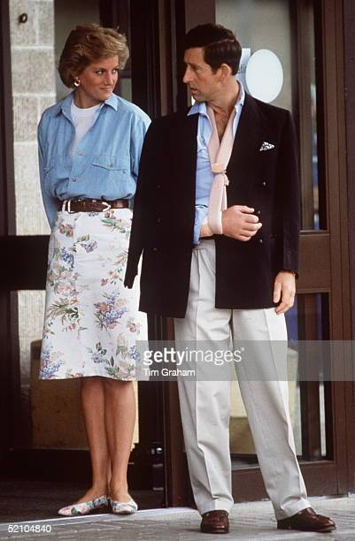 Princess Diana With Her Husband Prince Charles As He Leaves Cirencester Hospital With His Arm In A Sling On Her 29th Birthday