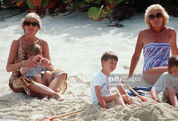 Princess Diana With Her Mother Frances Shandkydd And Her Sons William And Harry Enjoying A Spring Holiday On The Island Of Necker Prince Harry Is...