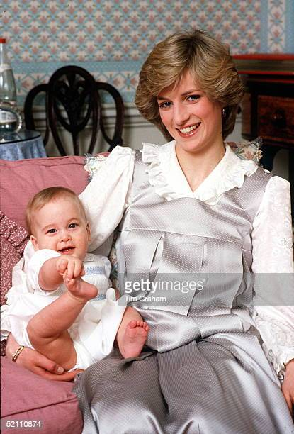 Princess Diana With Her Son Prince William At Kensington Palace