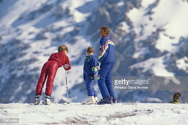 Princess Diana with her son William during a skiing holiday in Lech Austria 9th April 1991