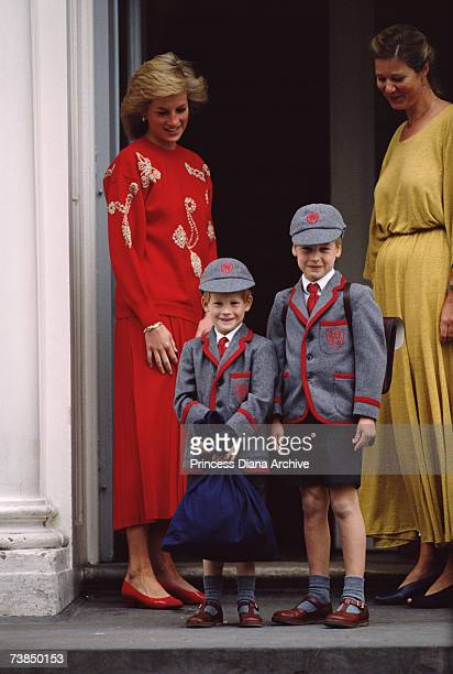Princess Diana with her sons Prince Harry and Prince William September 1989 It is Prince Harry's first day at Wetherby School Notting Hill London