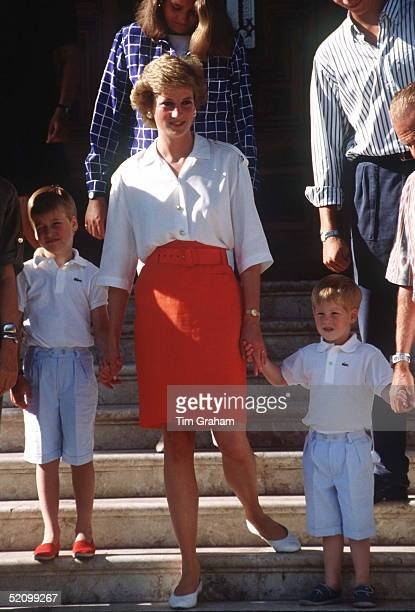 Princess Diana With Her Sons Prince William And Prince Harry At A Photocall On The Steps Of The Marivent Palace During Their Summer Holiday In Majorca