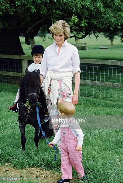 Princess Diana With Her Sons William And Harry As They Play In The Grounds Of Highgrove William Is Riding A Pony