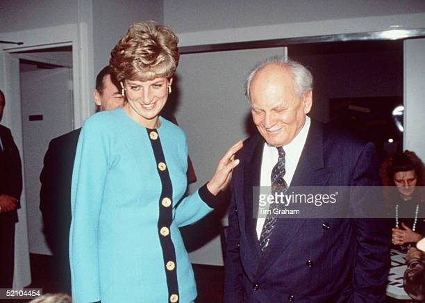 Princess Diana With President Goncz Of Hungary At The British Council Offices In Budapest