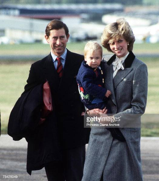 Princess Diana with Prince Charles and their son Prince William leaving Aberdeen Airport after a holiday at Balmoral Scotland October 1983