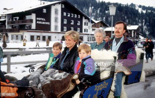 Princess Diana With Prince William And Prince Harry In A Sleigh In Austriain The Back Are The Prince's Nanny Olga Powell And Police Bodyguard Trevor...
