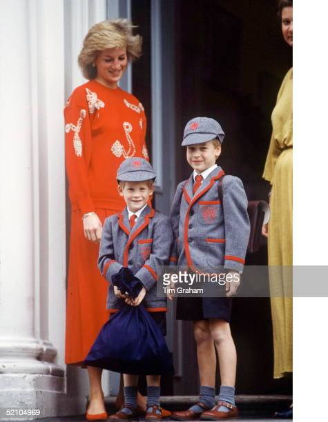 Princess Diana With Prince William And Prince Harry On Harry's First Day At Wetherby School