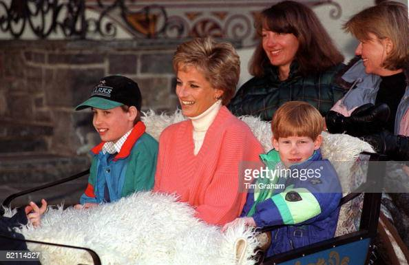 Princess Diana With Prince William Prince Harry In Sleigh During Ski Holiday In Lech Austria Behind Are Diana's Friends Kate Menzies And Catherine...