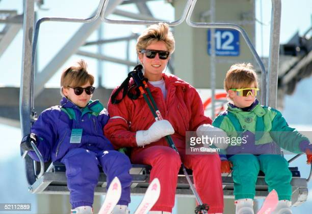Princess Diana With Princes William Harry Skiing In Lech Austria
