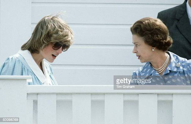 Princess Diana With Queen Elizabeth Ll Talking Together At A Polo Match At Guards Polo Club Windsor Berkshire Princess Diana Is Wearing A Maternity...