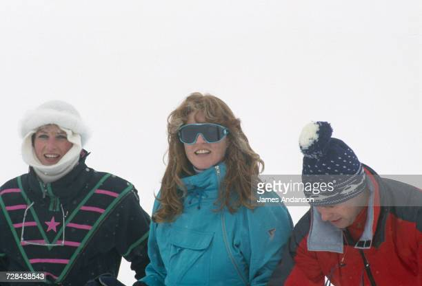 Princess Diana with the Duke and Duchess of York during a skiing holiday in Klosters Switzerland 17th February 1987