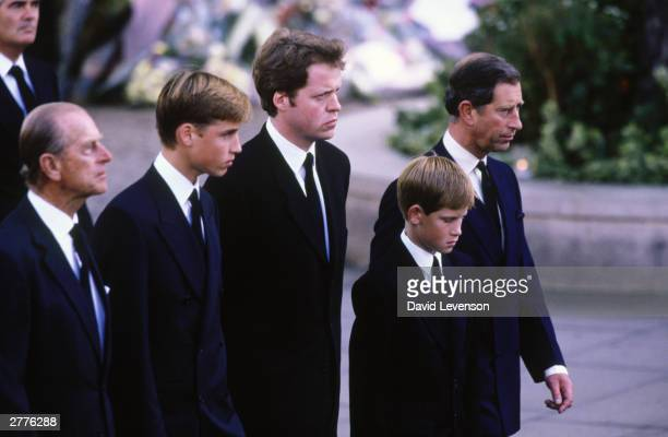 Princess Diana's Family members Prince Philip Duke of Edinburgh Prince William the 9th Earl Charles Spencer Prince Harry and Prince Charles walk...