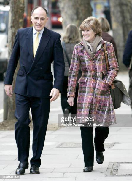 Princess Diana's Sister Lady Sarah McCorquodale with Prince William and Harry's private secretary Jamie LowtherPinketon arrives at the High Court...