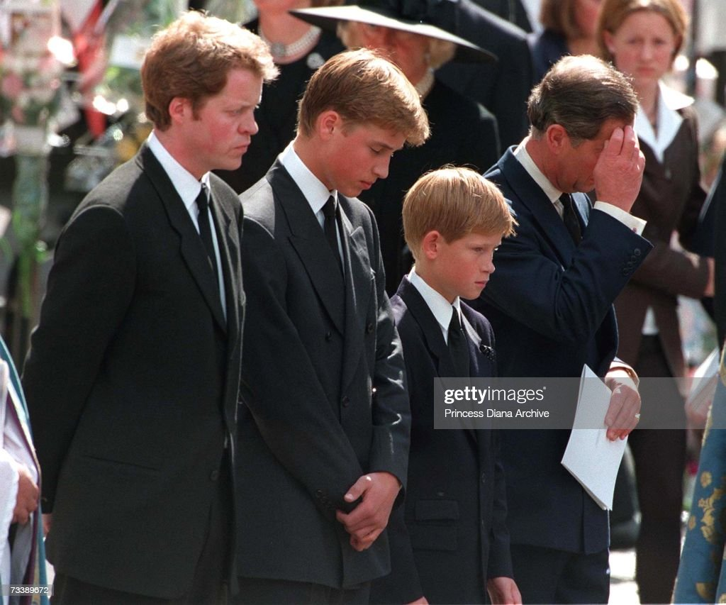 Princess Diana's sons Princes William and Harry with their father <a gi-track='captionPersonalityLinkClicked' href=/galleries/search?phrase=Prince+Charles+-+Prince+of+Wales&family=editorial&specificpeople=160180 ng-click='$event.stopPropagation()'>Prince Charles</a> and uncle Earl Spencer outside Westminster Abbey on the day of their mother's funeral service, 6th September 1997.