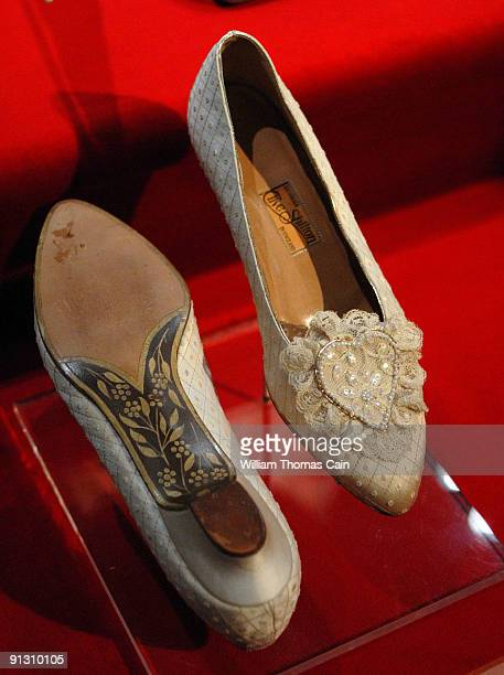 Princess Diana's wedding slippers are displayed at a preview of the traveling 'Diana A Celebration' exhibit at the National Constitution Center on...