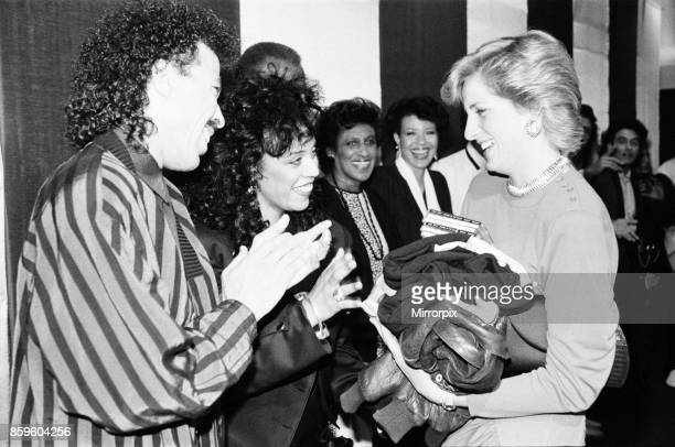 Princess DianaThe Princess of Wales meets Amercian singer Lionel Richie at his Wembley Arena concert Lionel's wife gives Diana two leather jackets...