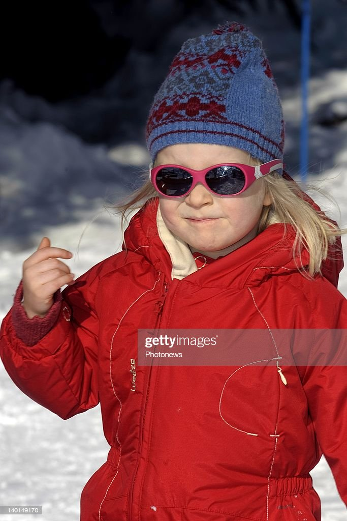 VERBIER , SWITZERLAND - FEBRUARY 22, 2012: Princess Eleanore in action on the ski slopes during the Royal Family Skiing Holiday on February 22,2012 in Verbier,Switzerland.