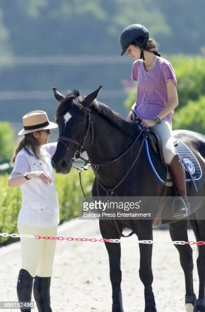Princess Elena and her daughter Victoria Federica de Marichalar are seen during Dona Maria de las Mercedes Polo Memorial at Los Pinos de Santa Maria...