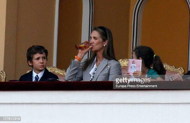 Princess Elena and her kids Felipe Juan Froilan and Victoria Federica attend Bullfighting Autumn Fairat Plaza de Toros de Las Ventas on October 1...