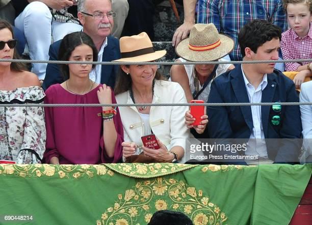 Princess Elena and her kids Felipe Juan Froilan Marichalar and Victoria Federica Marichalar attend bullfingting on May 30 2017 in Aranjuez Spain