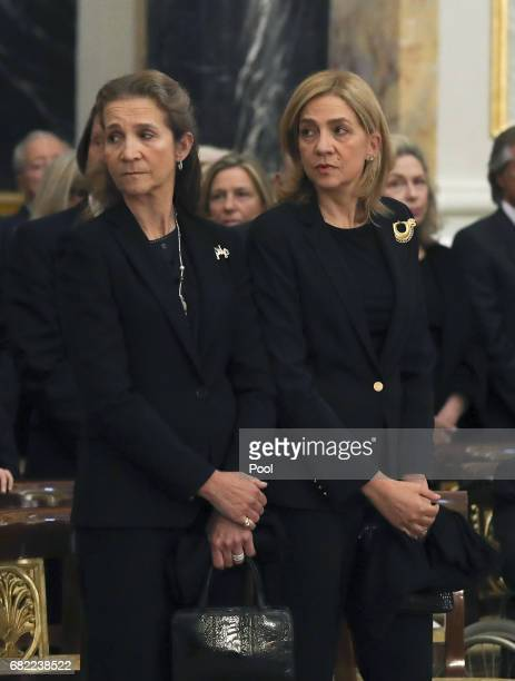 Princess Elena and Princess Cristina attend the funeral of the Infanta Alicia de BorbonParma in the chapel of the Royal Palace on May 11 2017 in...