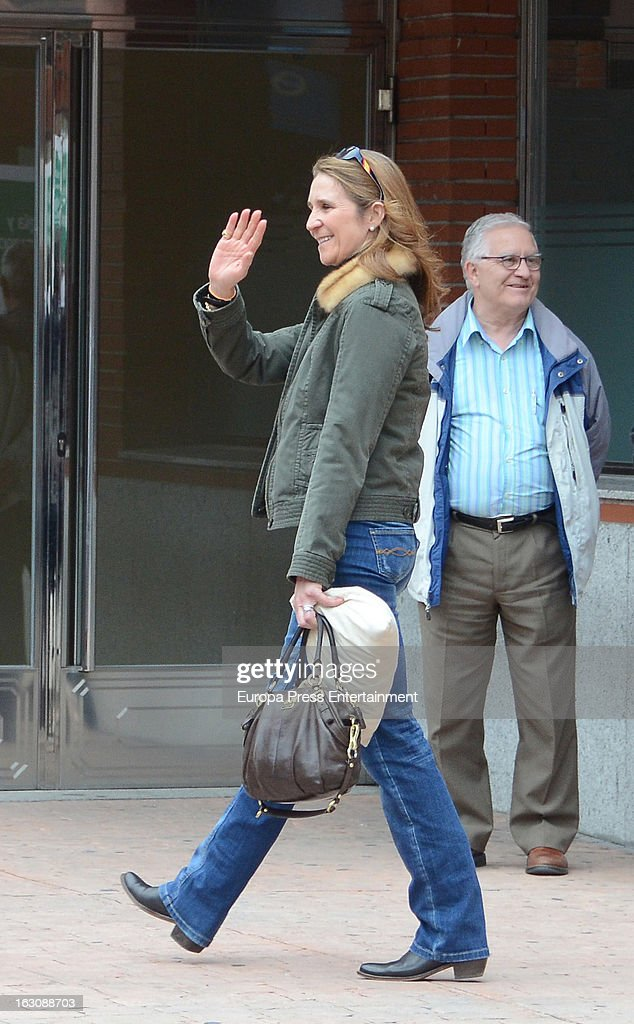 Princess Elena (L) and Princess Cristina (R) visit king juan carlos at La Milagrosa Hospital on March 3, 2013 in Madrid, Spain. He had hip surgery last November. The king has had several other health issues in the past two years, including knee surgery and the removal of a benign lung tumor.