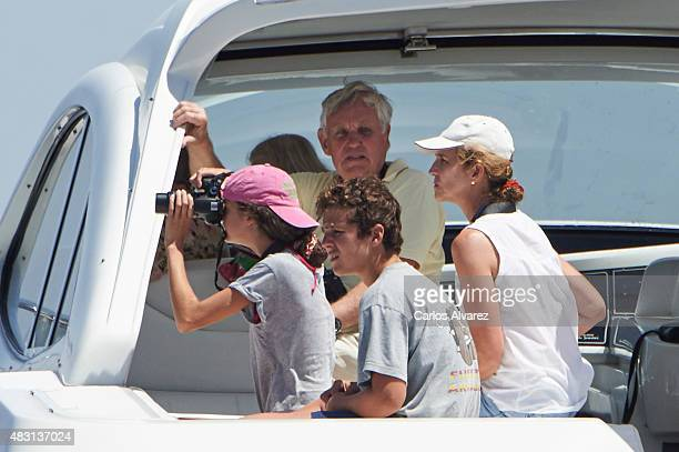 Princess Elena of Spain and her children Felipe Juan Froilan Marichalar and Victoria Federica Marichalar on board of the Somny during the 34th Copa...