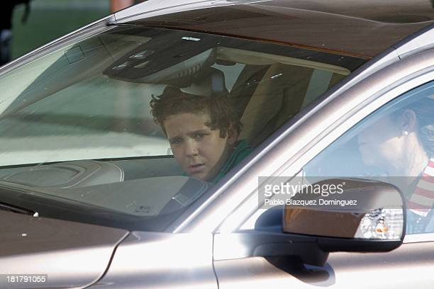 Princess Elena of Spain and her son Felipe Juan Froilan arrive at Quiron University hospital where Spain's King Juan Carlos is recovering from an...