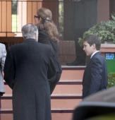 Princess Elena of Spain and her son Felipe Juan Froilan de Marichalar expresses her condolences to Marichalar family on March 14 2014 in Madrid Spain...
