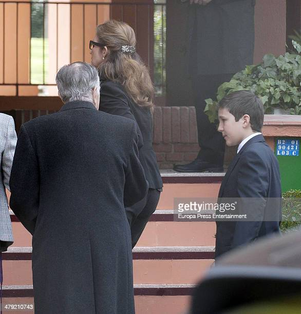 Princess Elena of Spain and her son Felipe Juan Froilan de Marichalar expresses her condolences to Marichalar family on March 14 2014 in Madrid Spain...