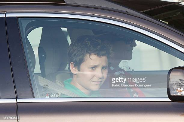 Princess Elena of Spain and her son Felipe Juan Froilan leave Quiron University hospital where Spain's King Juan Carlos is recovering from an...