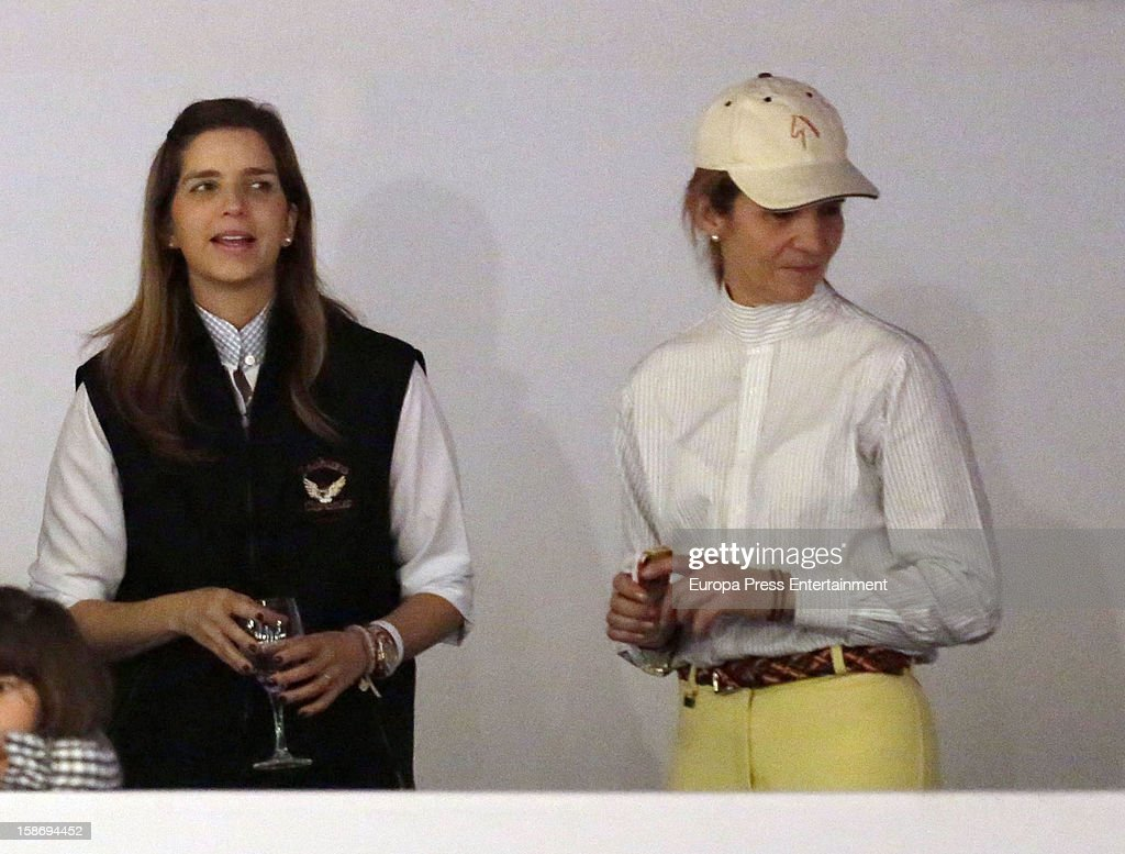 <a gi-track='captionPersonalityLinkClicked' href=/galleries/search?phrase=Princess+Elena+of+Spain&family=editorial&specificpeople=160235 ng-click='$event.stopPropagation()'>Princess Elena of Spain</a> (R) and Margarita Vargas attend Madrid Horse Week Fair 2012 at Ifema on December 23, 2012 in Madrid, Spain.