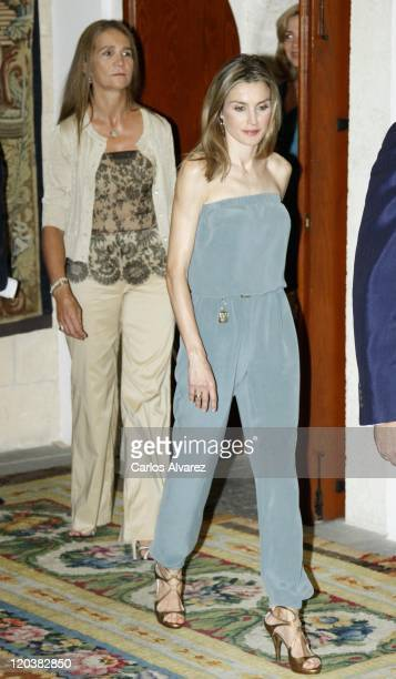 Princess Elena of Spain and Princess Letizia of Spain attend traditional summer dinner at the Almudaina Palace on August 5 2011 in Palma de Mallorca...