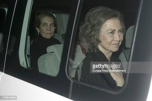 Princess Elena of Spain and Queen Sofia of Spain attend a screening of a documentary about King Paul I of Greece on March 5 2014 in Athens Greece