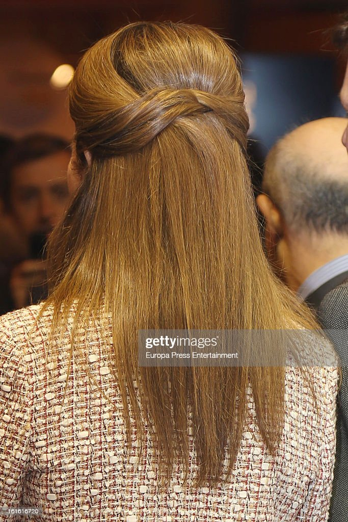 Princess Elena of Spain (hair detail) attends 'Aula 2013' at Ifema on February 13, 2013 in Madrid, Spain.